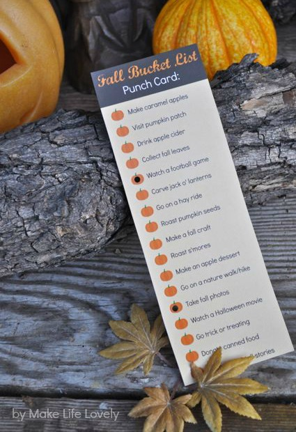 Free Printable Fall Bucket List Punch Card, by Make Life Lovely